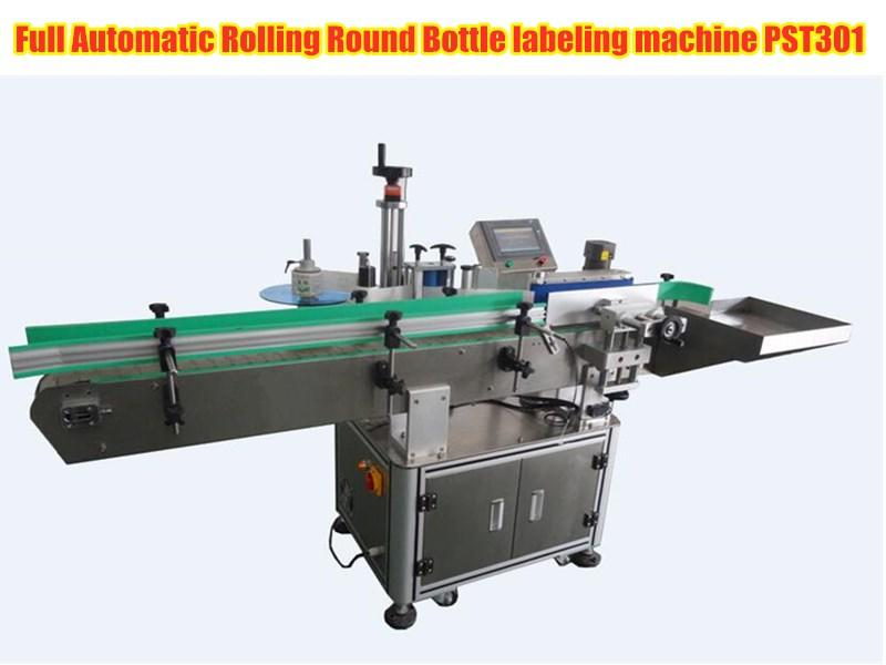 The full automatic rolling round bottle labeling machine PST301