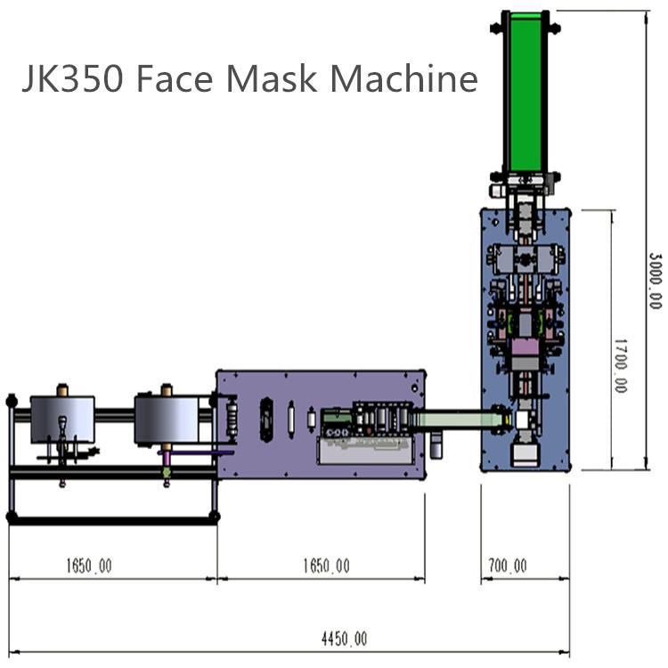 New upgraded High Speed 1+1 Full Automatic Flat Disposal Face Mask Machine JK350