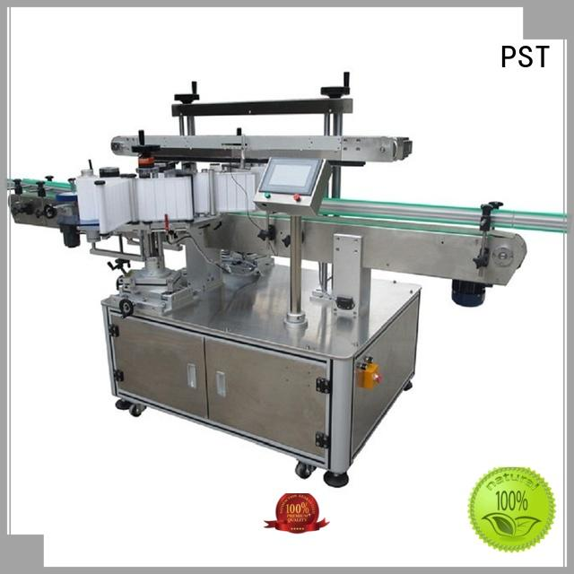 PST custom side label applicator supply for square bottle
