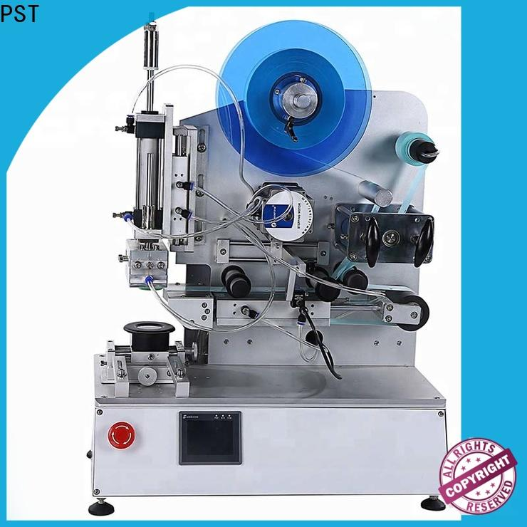 PST high precision semi automatic flat labeling machine for busniess for round bottles
