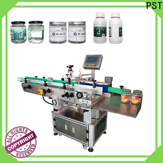 PST conveyor type automatic label applicator shrink labeling equipment for round bottles