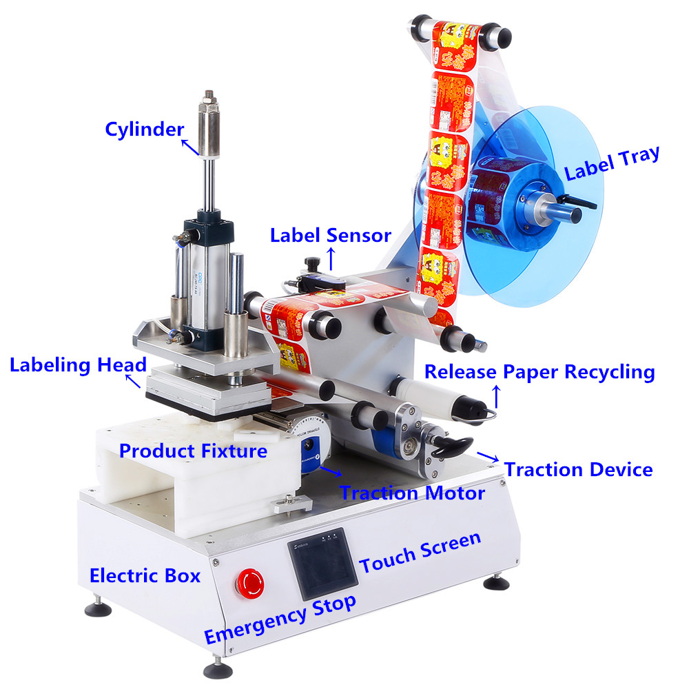 new semi automatic flat labeling machine supply for square bottles-1