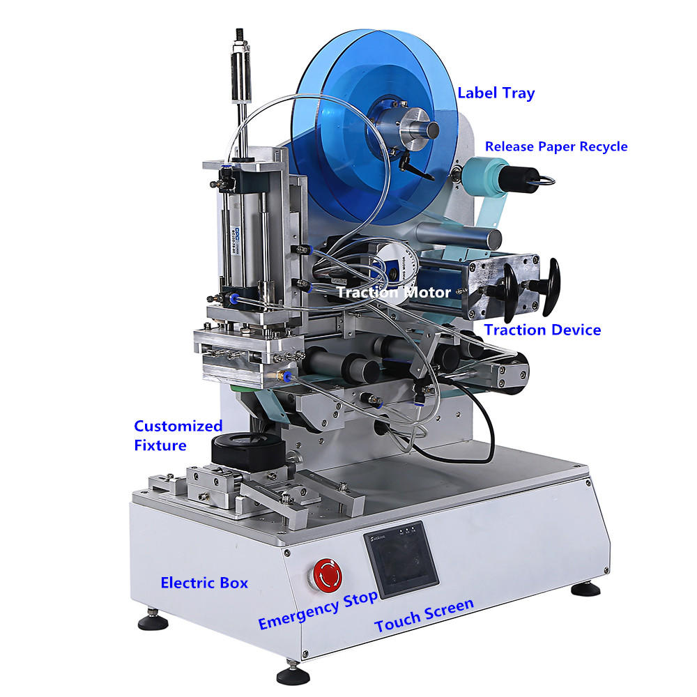 PST semi automatic label applicator machine for bottles customization for industry